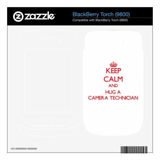 Guarde la calma y abrace a un técnico de la cámara calcomanías para BlackBerry
