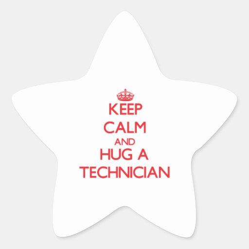 Guarde la calma y abrace a un técnico pegatina en forma de estrella