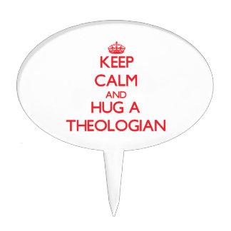 Guarde la calma y abrace a un teólogo figura de tarta