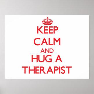 Guarde la calma y abrace a un terapeuta impresiones