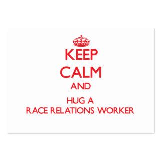 Guarde la calma y abrace a un trabajador de las re tarjetas personales