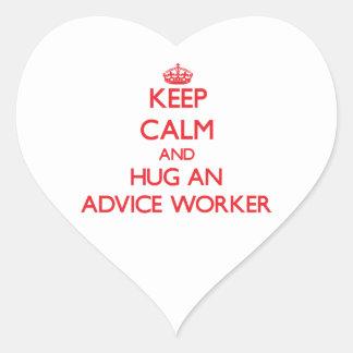 Guarde la calma y abrace a un trabajador del conse calcomanías corazones