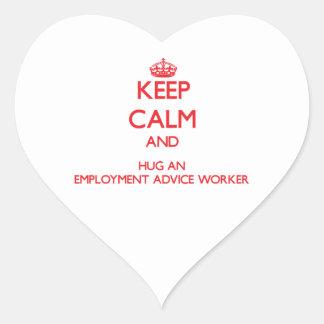 Guarde la calma y abrace a un trabajador del conse pegatina de corazón