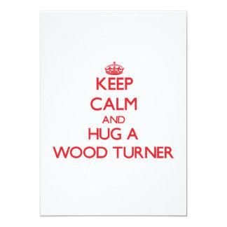 Guarde la calma y abrace a un Turner de madera Invitación 12,7 X 17,8 Cm