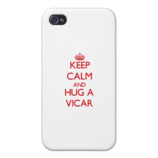 Guarde la calma y abrace a un vicario iPhone 4 cárcasas