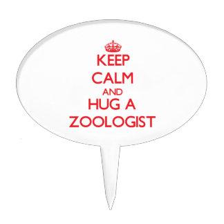 Guarde la calma y abrace a un zoologista decoración para tarta