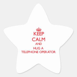 Guarde la calma y abrace a una telefonista colcomania cuadrada
