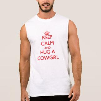 Guarde la calma y abrace a una vaquera camiseta sin mangas