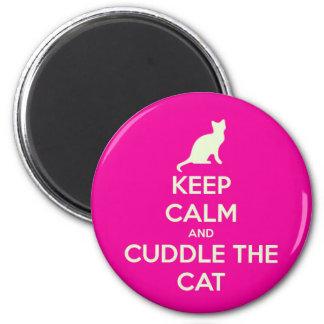 Guarde la calma y abrace el gato imán redondo 5 cm