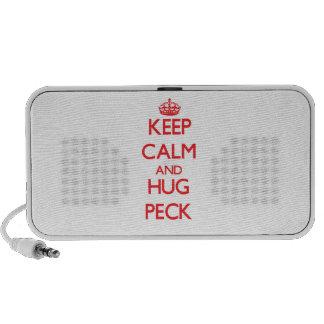 Guarde la calma y abrace el peck laptop altavoces