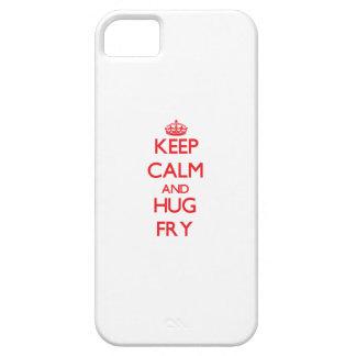 Guarde la calma y abrace la fritada iPhone 5 protectores