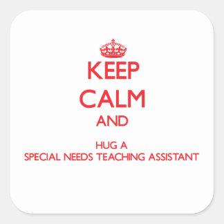 Guarde la calma y abrace las necesidades de un Spe Calcomanía Cuadradas