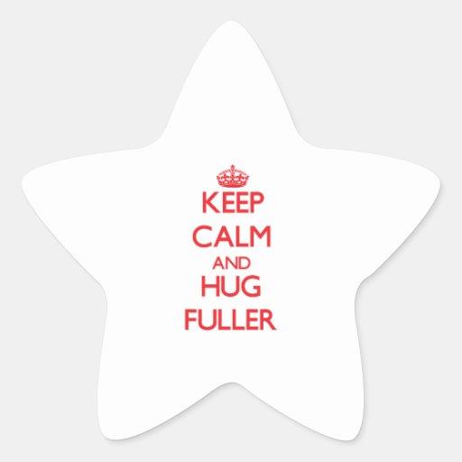 Guarde la calma y abrace más lleno pegatina en forma de estrella