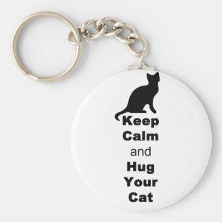 Guarde la calma y abrace su gato llavero redondo tipo pin
