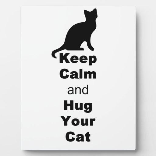 Guarde la calma y abrace su gato placa para mostrar