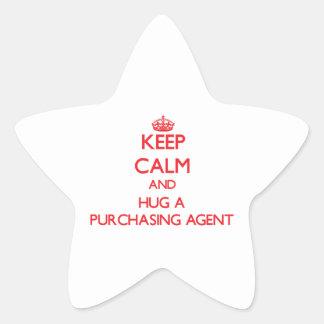 Guarde la calma y abrace un agente de compra colcomania cuadrada