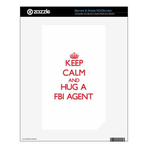 Guarde la calma y abrace un agente del FBI Calcomanía Para NOOK Color