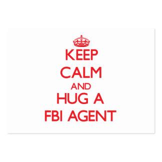 Guarde la calma y abrace un agente del FBI Tarjetas De Visita Grandes