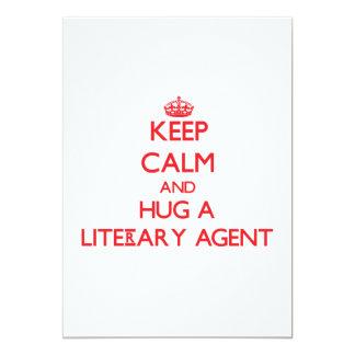 """Guarde la calma y abrace un agente literario invitación 5"""" x 7"""""""
