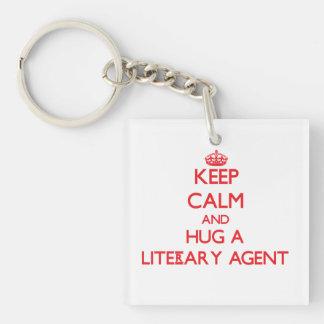 Guarde la calma y abrace un agente literario llavero cuadrado acrílico a doble cara
