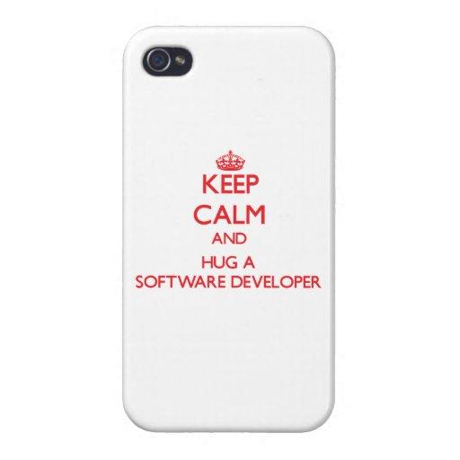 Guarde la calma y abrace un analista de programas  iPhone 4 cárcasas