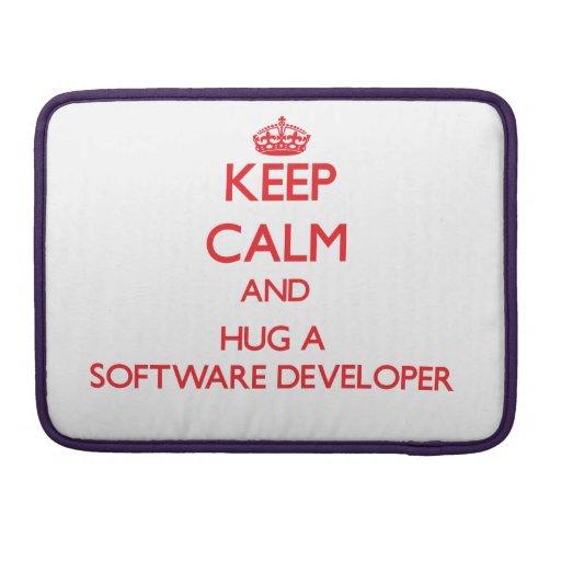 Guarde la calma y abrace un analista de programas  fundas para macbook pro