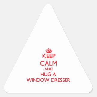 Guarde la calma y abrace un aparador de ventana pegatina triangular