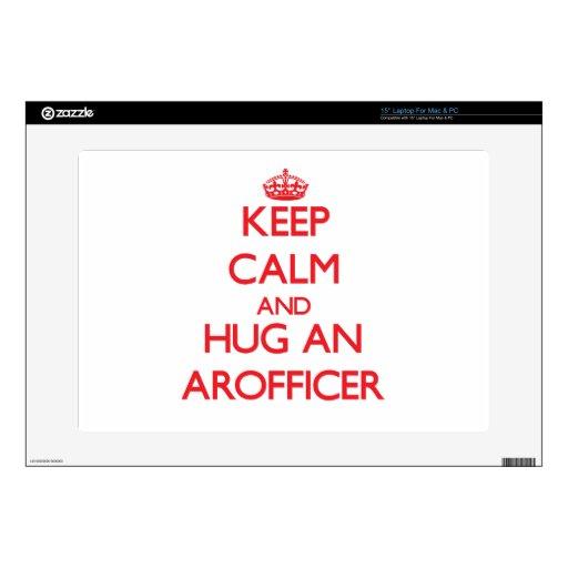 Guarde la calma y abrace un Arofficer 38,1cm Portátil Calcomanía