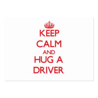 Guarde la calma y abrace un conductor tarjetas personales