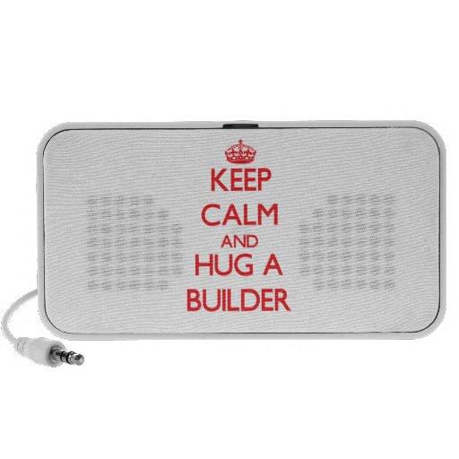 Guarde la calma y abrace un constructor laptop altavoz