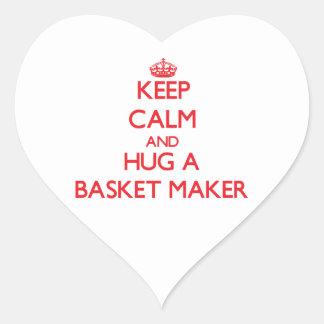 Guarde la calma y abrace un fabricante de cesta calcomania de corazon personalizadas