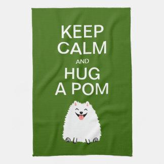 Guarde la calma y abrace un Pom - Pomeranian blanc Toalla De Mano