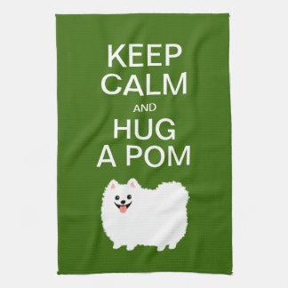 Guarde la calma y abrace un Pom - Pomeranian blanc Toalla De Cocina