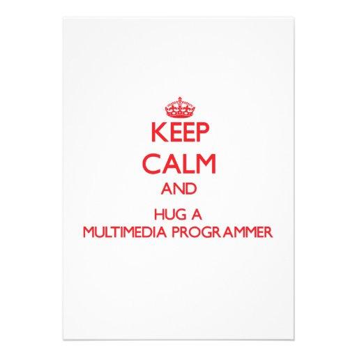 Guarde la calma y abrace un programador de las mul comunicado personalizado