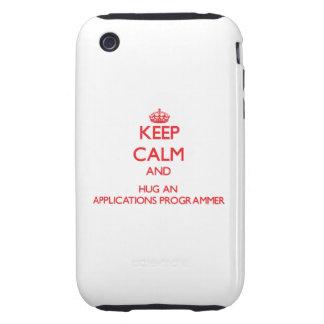 Guarde la calma y abrace un programador de los uso tough iPhone 3 coberturas