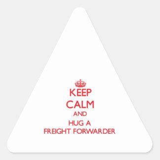 Guarde la calma y abrace un promotor de carga calcomania de triangulo personalizadas