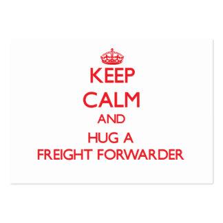 Guarde la calma y abrace un promotor de carga tarjetas de visita grandes