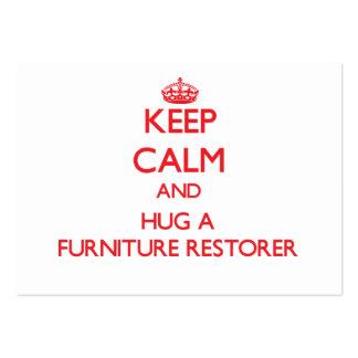 Guarde la calma y abrace un restaurador de los mue tarjetas de visita grandes