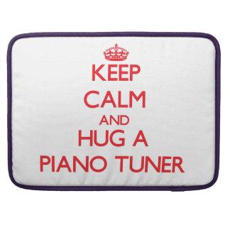 Guarde la calma y abrace un sintonizador de piano funda para macbooks