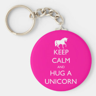 Guarde la calma y abrace un unicornio llavero redondo tipo pin