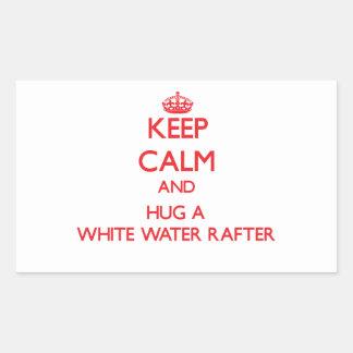Guarde la calma y abrace un viga del agua blanca pegatinas