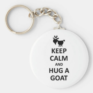 Guarde la calma y abrace una cabra llavero