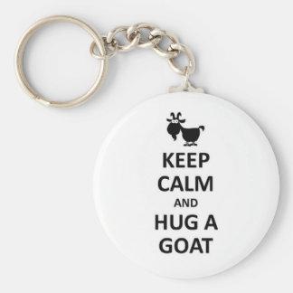 Guarde la calma y abrace una cabra llavero redondo tipo pin