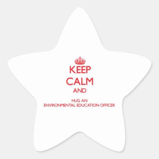 Guarde la calma y abrace una educación ambiental calcomanías forma de estrellaes personalizadas