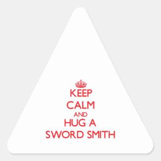 Guarde la calma y abrace una espada Smith Calcomanías Trianguloes Personalizadas