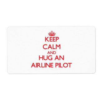 Guarde la calma y abrace una línea aérea etiqueta de envío