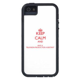 Guarde la calma y abrace una producción Assistan iPhone 5 Carcasas