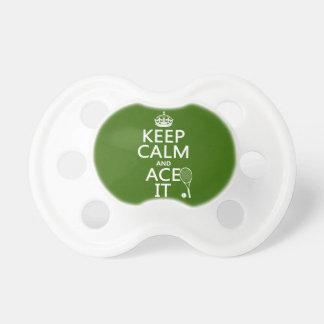 Guarde la calma y Ace la (el tenis) (en cualquier  Chupetes Para Bebés