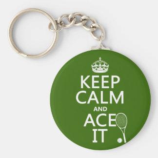 Guarde la calma y Ace la (el tenis) (en cualquier  Llaveros