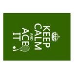Guarde la calma y Ace la (el tenis) (en cualquier  Plantilla De Tarjeta Personal